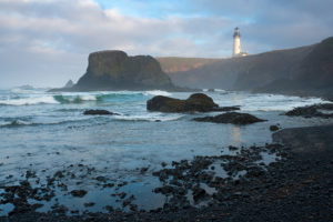 Photo of the Yaquina Head Lighthouse in Newport, Oregon.